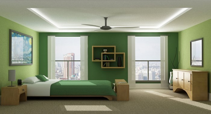Colori per la camera da letto L'apparecchiatura verde-A-creation'équipement vert-A-création