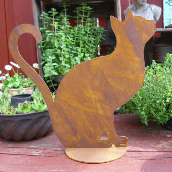 Gartendeko Ideje Cat patina figure-of-hrđe