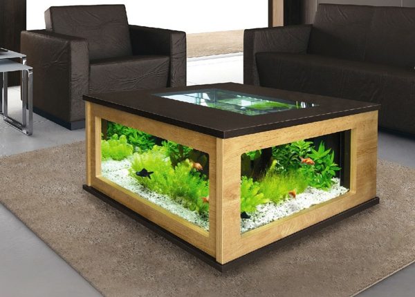 salon aquarium table vert