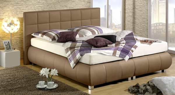 boxspring-seattle-imitation-leather-taupe-beautiful-living - duvet covers modern