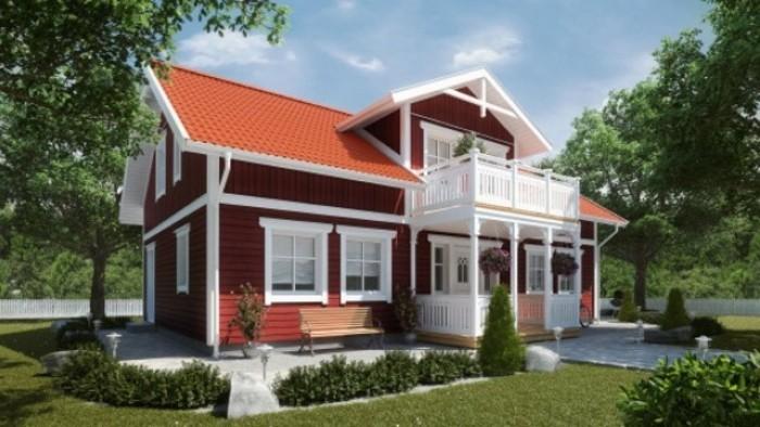 La Casa De Madera Americana Con Terraza