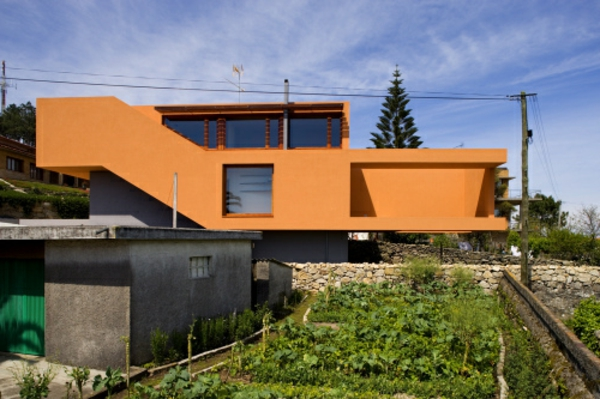 hausfassade-couleur contemporain orange conception