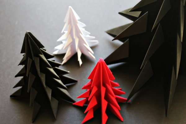 Origami-to-christmas-fir-trees-in-different-colors - bastante agradable