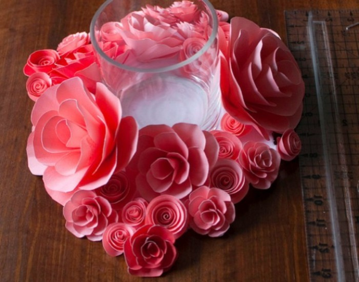 rouges-roses-artisanat idées avec papier-photo-de-up faite