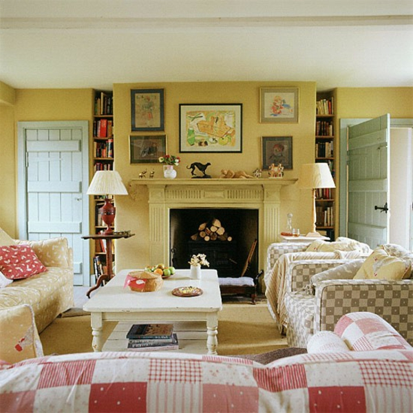 living-with-a-a-fireplace-country-style-beautiful diseño de pared