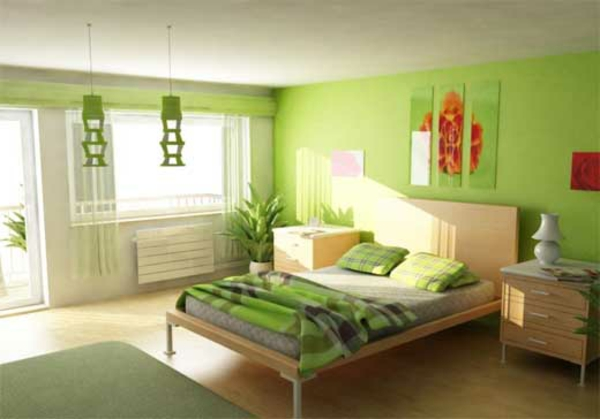 room-painting-ideas-bedroom-with-green-wall-paint and plants